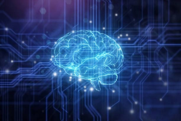 Close Up Of Artificial Intelligence Brain With Electronic Circuit.